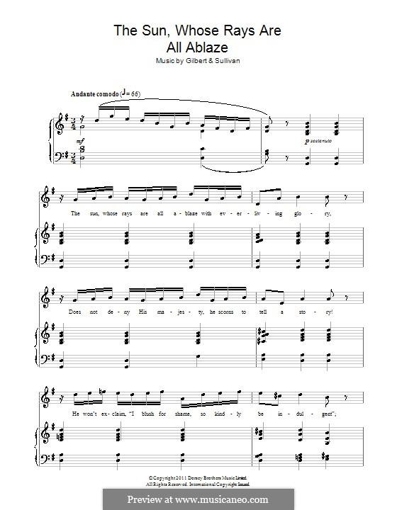 Akt II, No.2 The Sun, Whose Rays are All Ablaze: For voice and piano by Arthur Seymour Sullivan