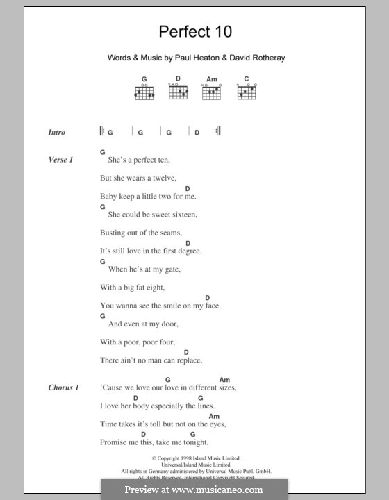 Perfect 10 (The Beautiful South): Lyrics and chords by David Rotheray, Paul Heaton