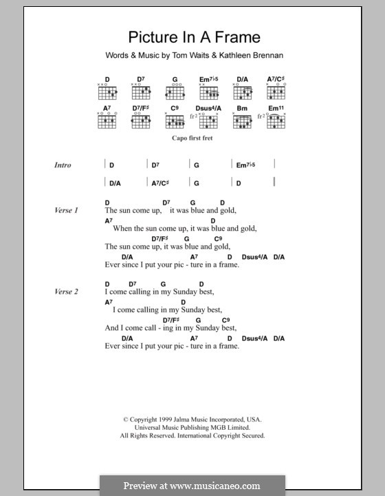 Picture in a Frame: Lyrics and chords by Kathleen Brennan, Tom Waits