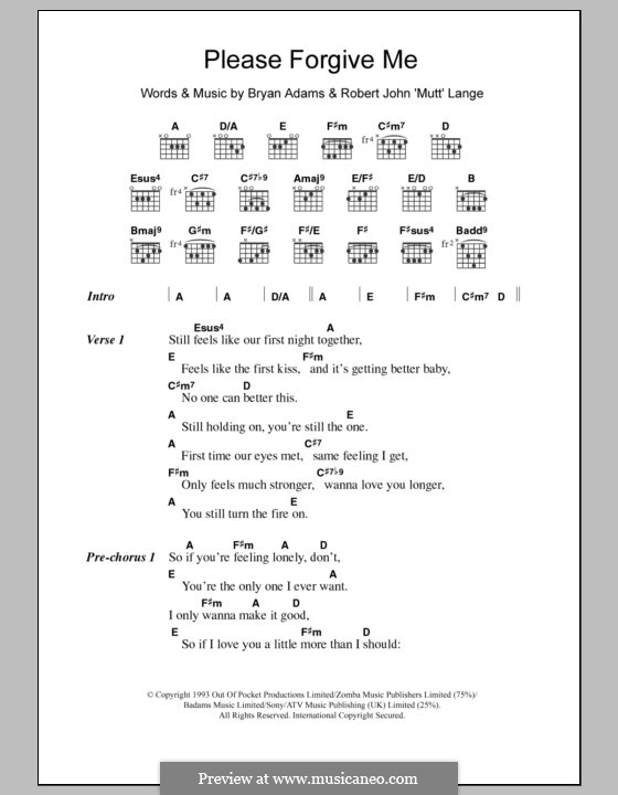 Please Forgive Me By Rj Lange Sheet Music On Musicaneo