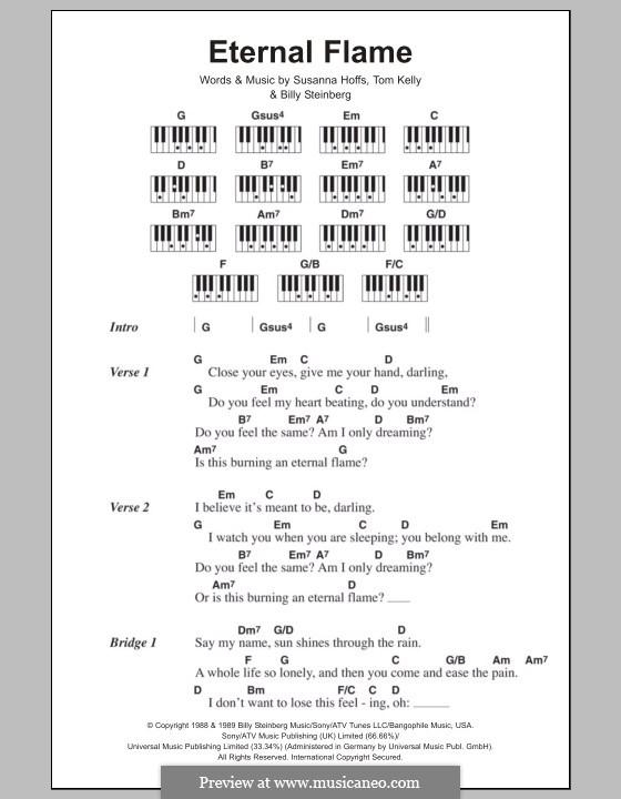 Eternal Flame: Lyrics and piano chords by Billy Steinberg, Susanna Hoffs, Tom Kelly