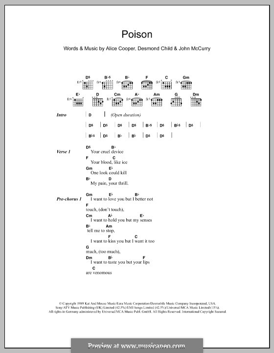 Poison: Lyrics and chords by Alice Cooper, Desmond Child, John McCurry