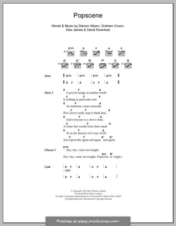 Popscene (Blur): Lyrics and chords by Alex James, Damon Albarn, David Rowntree, Graham Coxon