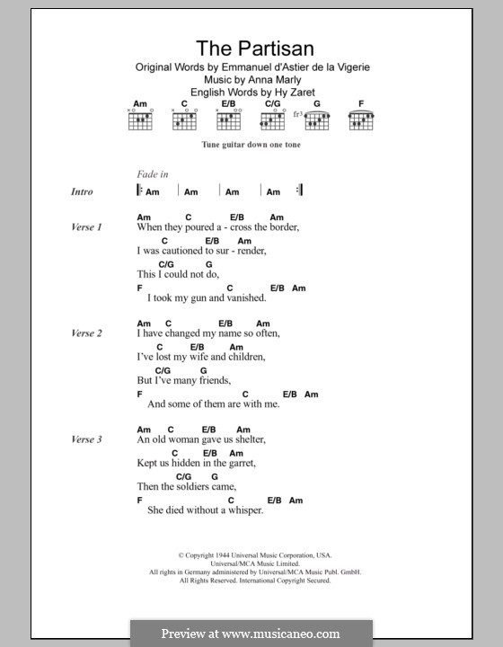 Partisan: Lyrics and chords by Anna Marly