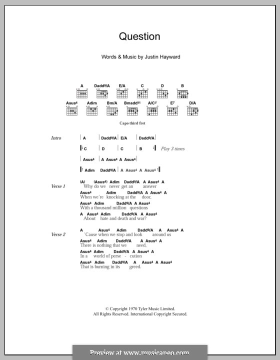 Question (The Moody Blues): Lyrics and chords by Justin Hayward