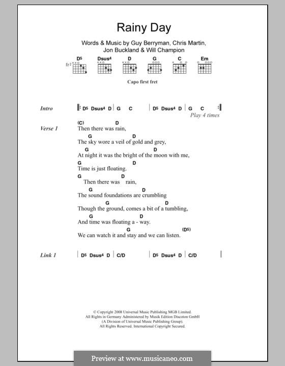 Rainy Day (Coldplay): Lyrics and chords by Chris Martin, Guy Berryman, Jonny Buckland, Will Champion
