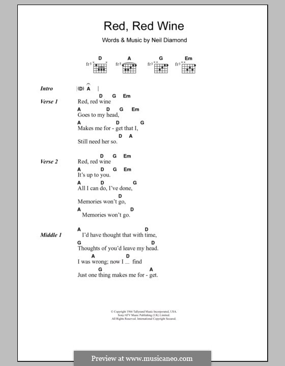 Red, Red Wine (UB40): Lyrics and chords (Tony Tribe) by Neil Diamond