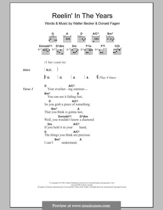Reelin' in the Years (Steely Dan): Lyrics and chords by Donald Fagen, Walter Becker