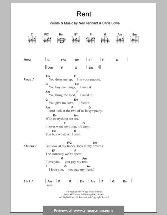 Rent (The Pet Shop Boys): Lyrics and chords by Chris Lowe, Neil Tennant