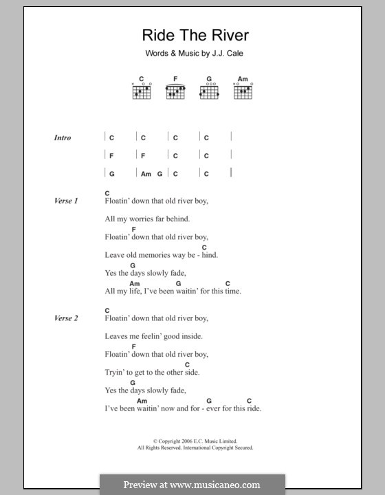 Ride the River: Lyrics and chords by J.J. Cale