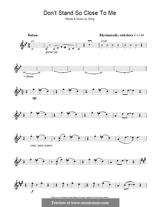Don't Stand So Close to Me (The Police): For alto saxophone by Sting