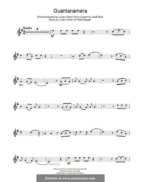 Guantanamera: For clarinet by Peter Seeger