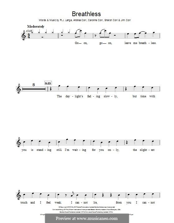 Breathless (The Corrs): For flute by Andrea Corr, Caroline Corr, Jim Corr, Sharon Corr