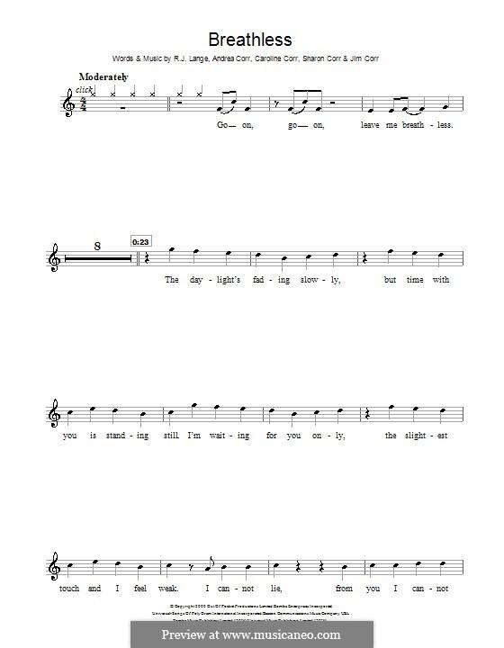 Breathless (The Corrs): For violin by Andrea Corr, Caroline Corr, Jim Corr, Sharon Corr