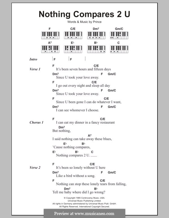 Nothing Compares 2 U By Prince Sheet Music On Musicaneo