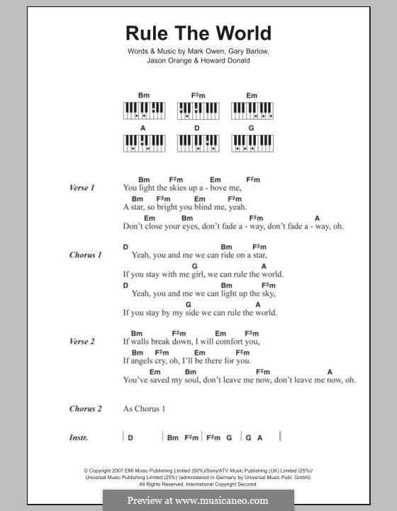 Rule the World (from Stardust): Lyrics and piano chords (Take That) by Gary Barlow, Howard Donald, Jason Orange, Mark Owen