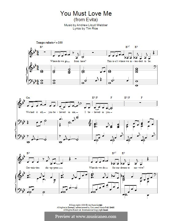 You Must Love Me: For voice and piano or guitar (Madonna) by Andrew Lloyd Webber