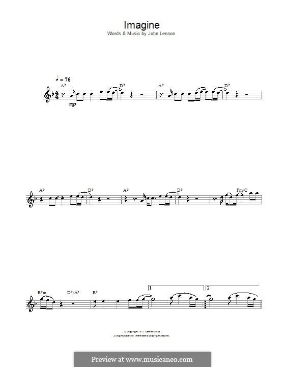 Imagine: For alto saxophone by John Lennon