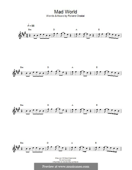 Mad World (Gary Jules & Michael Andrews): For flute by Roland Orzabal