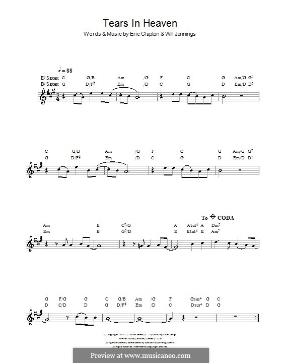 Tears in Heaven: For saxophone by Eric Clapton, Will Jennings