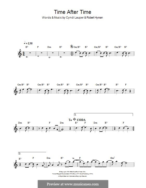 Time after Time: For clarinet by Cyndi Lauper, Robert Hyman