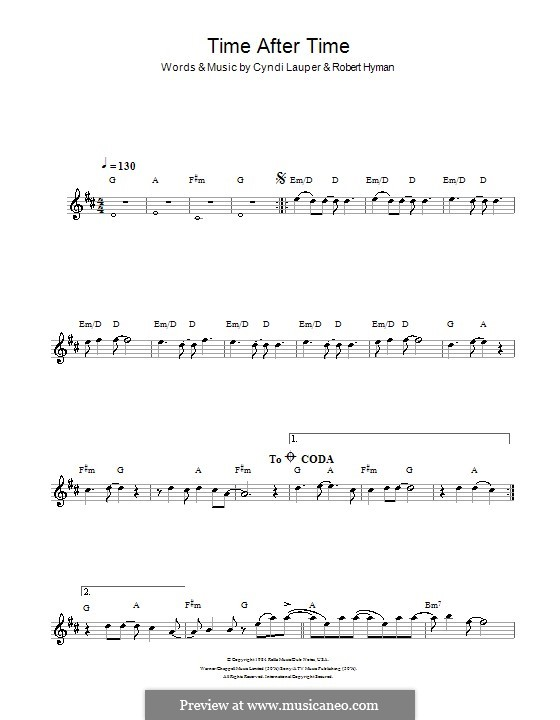 Time after Time: For flute by Cyndi Lauper, Robert Hyman