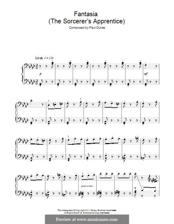 L'apprenti sorcier (The Sorcerer's Apprentice): For piano by Paul Dukas