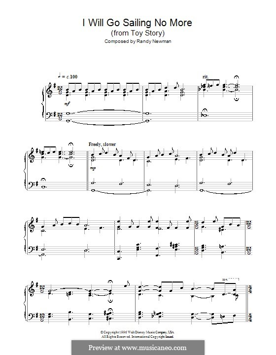 I Will Go Sailing No More: For piano by Randy Newman