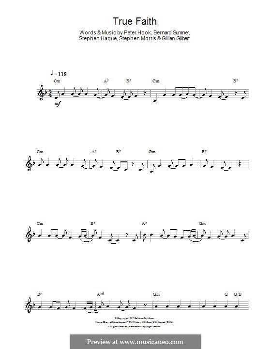 True Faith (New Order): For clarinet by Bernard Sumner, Gillian Gilbert, Peter Hook, Stephen Hague, Stephen Morris