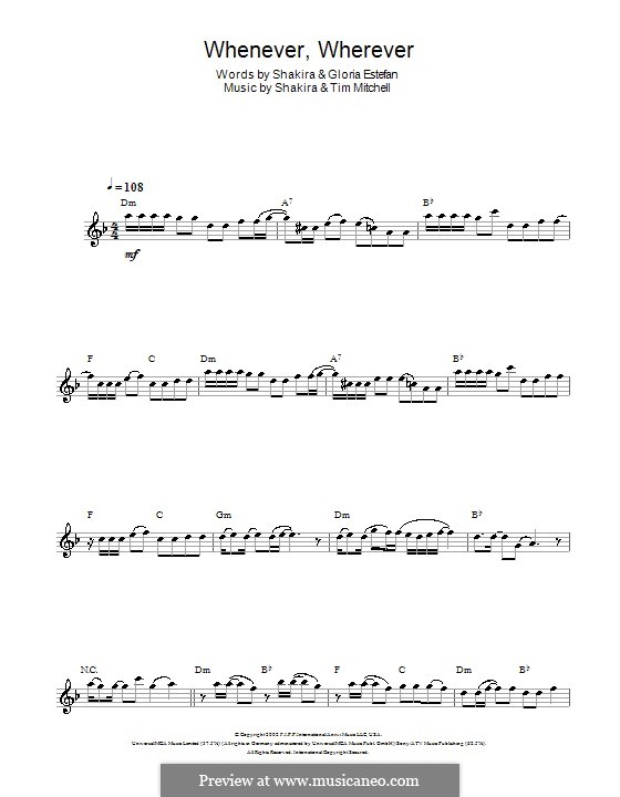 Whenever, Wherever: For flute by Shakira, Tim Mitchell