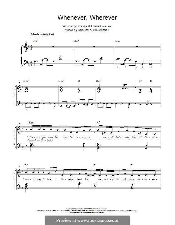 Whenever, Wherever: For easy piano by Shakira, Tim Mitchell