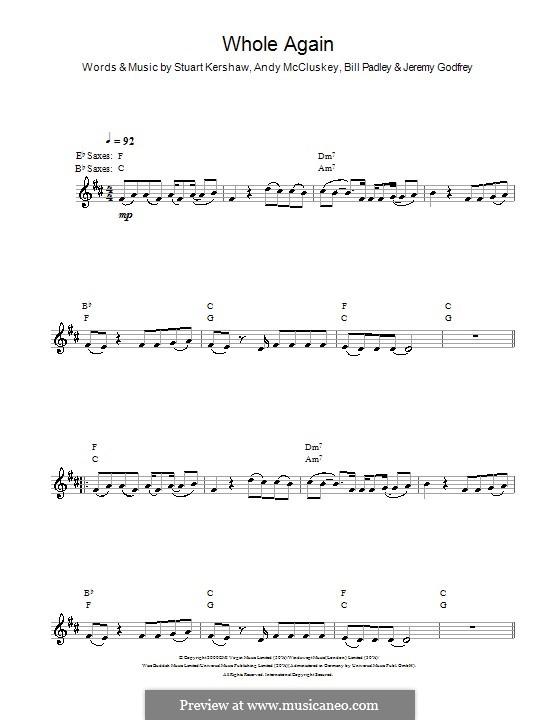 Whole Again (Atomic Kitten): For saxophone by Andy McCluskey, Bill Padley, Jeremy Godfrey, Stuart Kershaw
