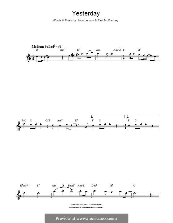 Yesterday (The Beatles): For flute by John Lennon, Paul McCartney