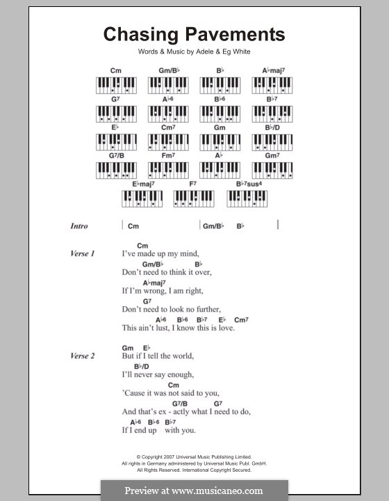 Chasing Pavements by Adele, Eg White - sheet music on MusicaNeo