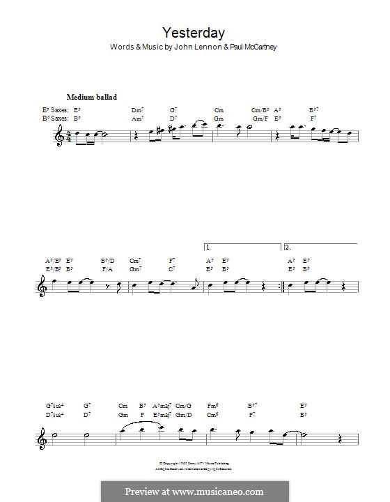 Yesterday (The Beatles): For saxophone by John Lennon, Paul McCartney