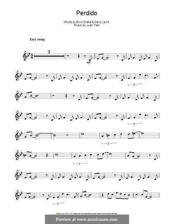 Perdido (Duke Ellington): For alto saxophone by Juan Tizol