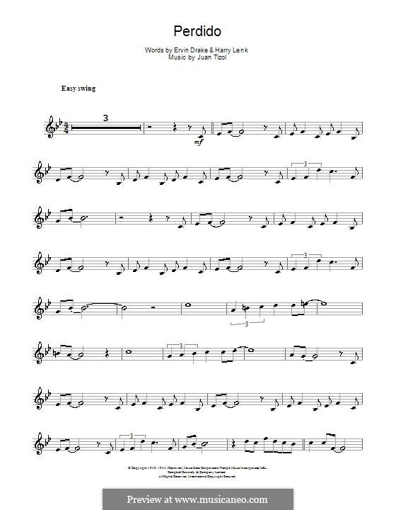 Perdido (Duke Ellington): For tenor saxophone by Juan Tizol