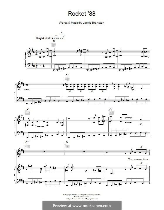 Rocket 88: For voice and piano or guitar (Ike Turner) by Jackie Brenston