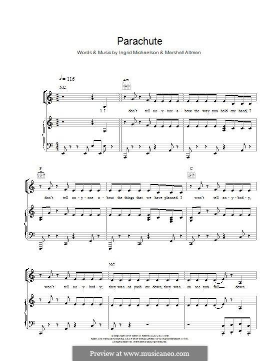 Parachute (Cheryl Cole): For voice and piano (or guitar) by Ingrid Michaelson, Marshall Altman