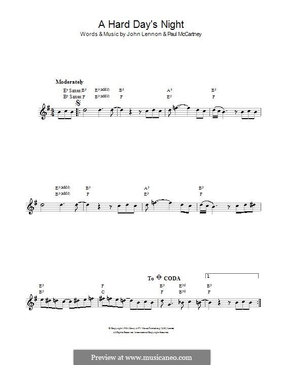 A Hard Day's Night (The Beatles): For saxophone by John Lennon, Paul McCartney