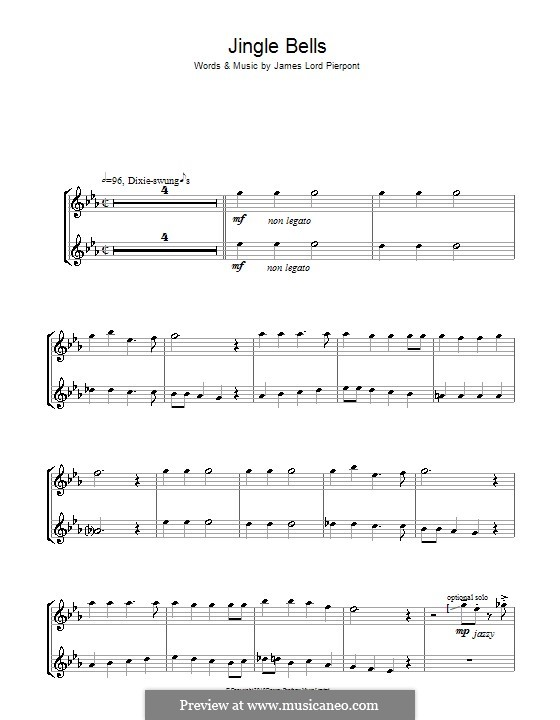 Jingle Bells (Printable scores): For two violins by James Lord Pierpont