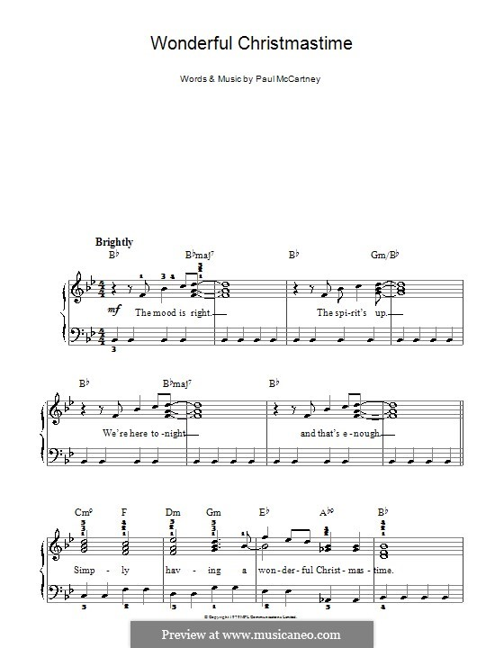 Wonderful Christmastime: For easy piano (with fingering) by Paul McCartney