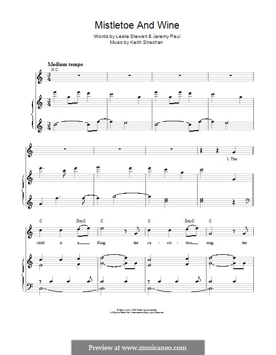 Mistletoe and Wine (Cliff Richard): For voice and piano by Keith Strachan
