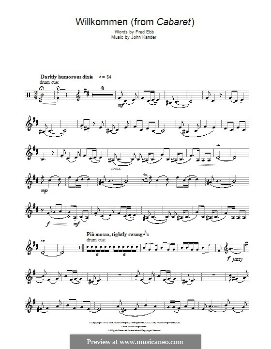 Willkommen (from Cabaret): For trumpet by John Kander