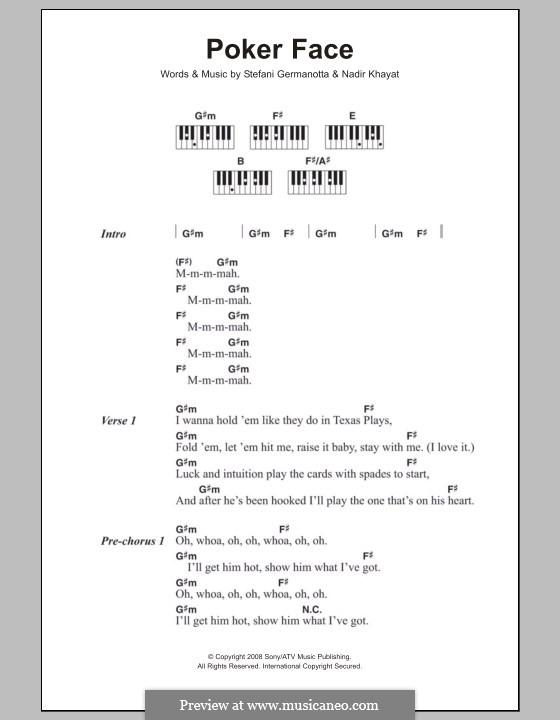 Poker Face (Lady Gaga): Lyrics and piano chords by RedOne, Stefani Germanotta