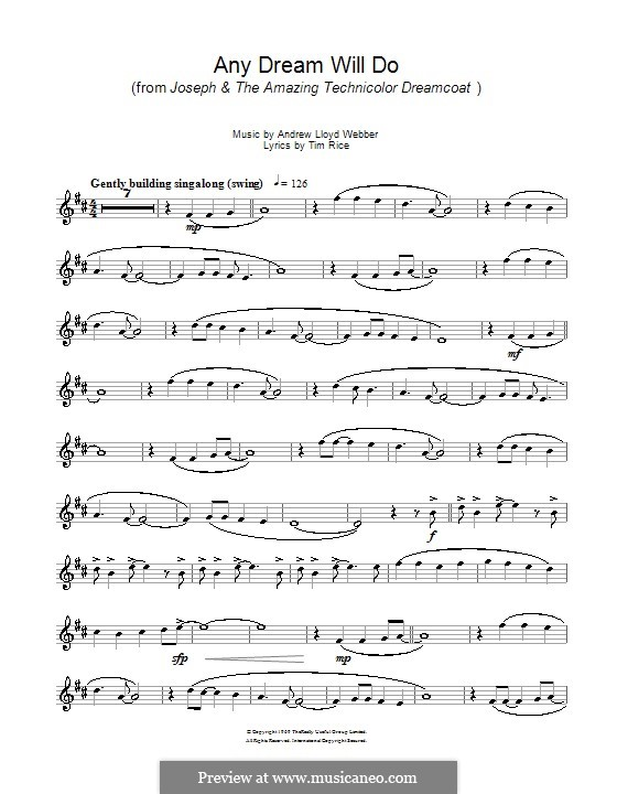 Any Dream Will Do: For trumpet by Andrew Lloyd Webber
