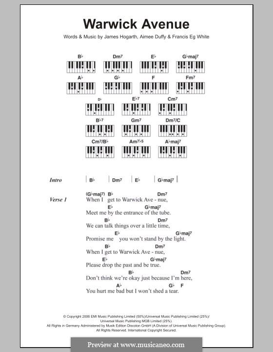 Warwick Avenue (Duffy): Lyrics and piano chords by Jimmy Hogarth, Aimee Duffy, Eg White