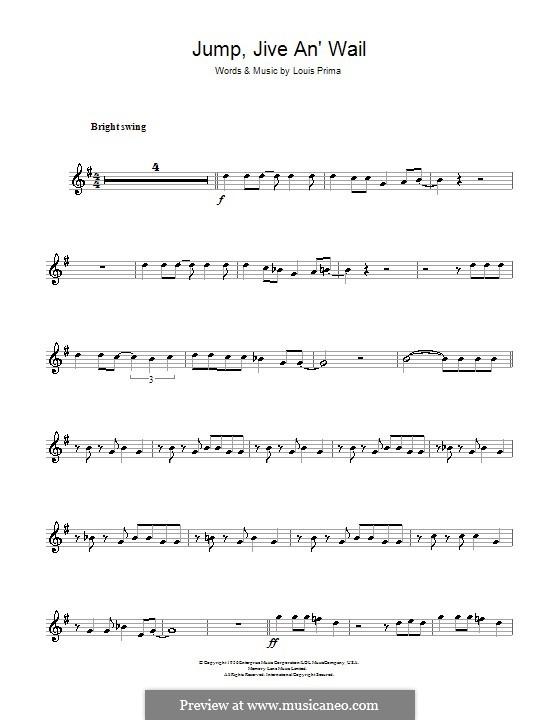Jump, Jive an' Wail: For alto saxophone by Louis Prima