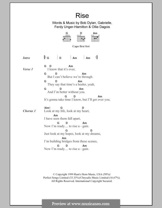 Rise: Lyrics and chords by Gabrielle, Bob Dylan, Ferdy Unger-Hamilton, Ollie Dagois