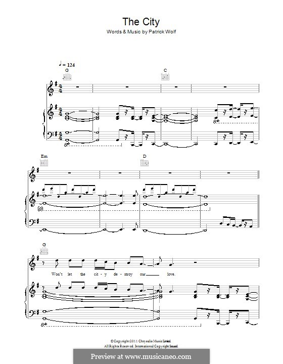 The City: For voice and piano (or guitar) by Patrick Wolf